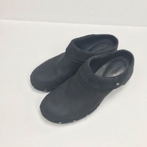 Merrell black suede leather clogs Sz 8.5